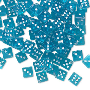 bead, acrylic, transparent aqua blue and opaque white, 5mm dice. sold per pkg of 100.