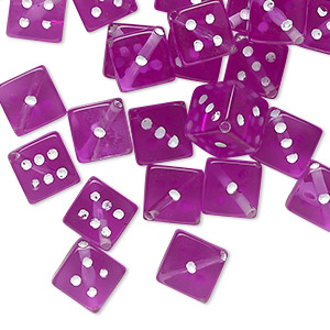 bead, acrylic, transparent purple and opaque white, 7.5mm dice. sold per pkg of 50.