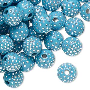 bead, acrylic, turquoise blue and silver, 10mm round with dots, 2mm hole. sold per pkg of 100.