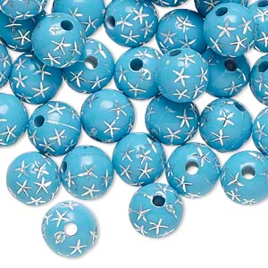 bead, acrylic, turquoise blue and silver, 8mm round with stars, 1.75mm hole. sold per pkg of 100.
