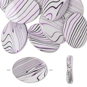 bead, acrylic, white / purple / black, 35x26mm curved oval with stripes. sold per pkg of 10.