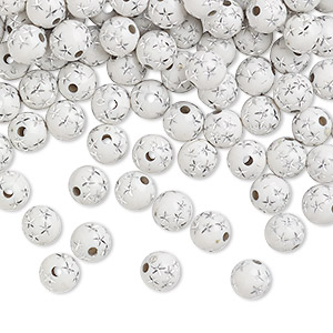 bead, acrylic, white, 8mm round with stars. sold per 50-gram pkg, approximately 160-180 beads.