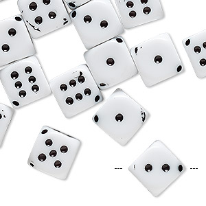 bead, acrylic, white and black, 13x10mm dice. sold per pkg of 24.