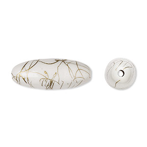 bead, acrylic, white and gold, 32x12mm oval with swirls. sold per pkg of 30.
