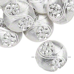 bead, acrylic, white and silver, 19mm double-sided puffed flat round with line and circle design, 2mm hole. sold per pkg of 24.