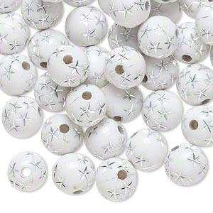 bead, acrylic, white and silver, 8mm round with stars, 1.75mm hole. sold per pkg of 100.
