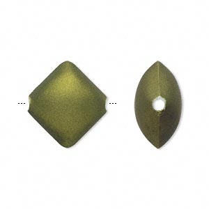 bead, acrylic with rubberized coating, avocado green, 18x16mm puffed diamond. sold per pkg of 70.
