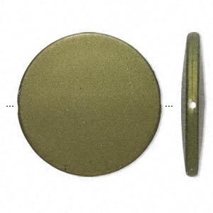 bead, acrylic with rubberized coating, avocado green, 41mm flat round. sold per pkg of 10.