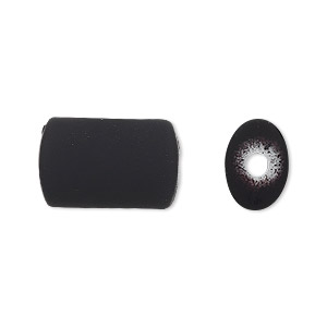 bead, acrylic with rubberized coating, black, 18x12mm oval tube. sold per pkg of 60.