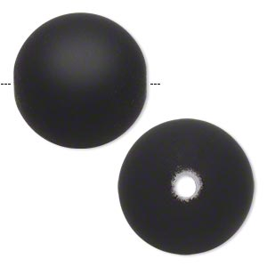 bead, acrylic with rubberized coating, black, 26mm round. sold per pkg of 10.