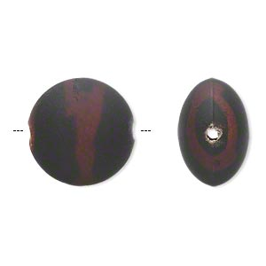 bead, acrylic with rubberized coating, black and brown, 18mm puffed flat round. sold per pkg of 40.