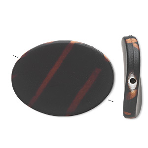 bead, acrylic with rubberized coating, black and brown, 35x26mm flat twisted oval. sold per pkg of 25.