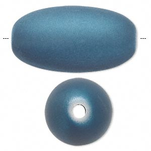 bead, acrylic with rubberized coating, blue, 37x20mm oval. sold per pkg of 10.