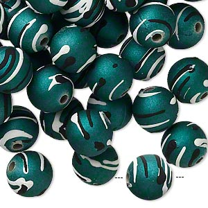 bead, acrylic with rubberized coating, green / black / white, 10mm round with stripes. sold per pkg of 100.
