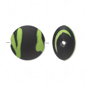 bead, acrylic with rubberized coating, green and black, 18mm puffed flat round. sold per pkg of 40.