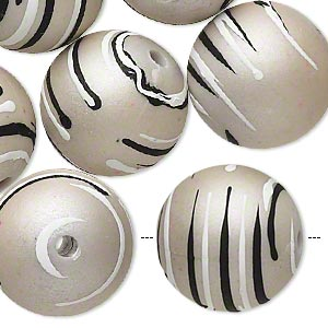 bead, acrylic with rubberized coating, grey / black / white, 20mm round with stripes. sold per pkg of 10.