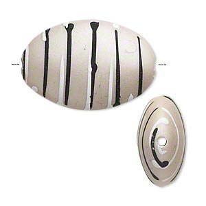 bead, acrylic with rubberized coating, grey / black / white, 28x19mm puffed oval with stripes. sold per pkg of 20.
