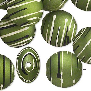 bead, acrylic with rubberized coating, olive / black / white, 18mm puffed flat round with stripes. sold per pkg of 30.