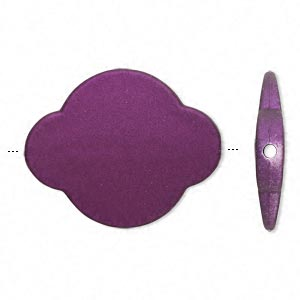 bead, acrylic with rubberized coating, purple, 49x39mm modified round. sold per pkg of 10.