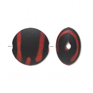 bead, acrylic with rubberized coating, red and black, 18mm puffed flat round. sold per pkg of 40.