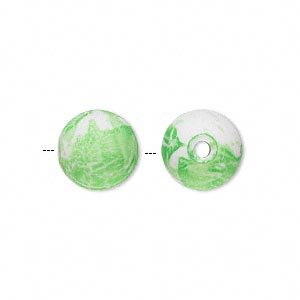bead, acrylic with rubberized coating, spotted green and white, 12mm round. sold per pkg of 100.