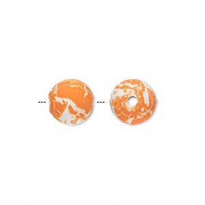 bead, acrylic with rubberized coating, spotted orange and white, 10mm round. sold per pkg of 150.