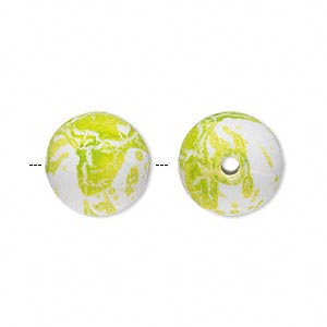 bead, acrylic with rubberized coating, spotted peridot green and white, 14mm round. sold per pkg of 60.