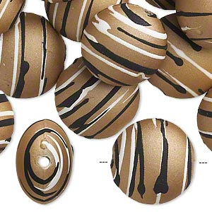 bead, acrylic with rubberized coating, tan / black / white, 18mm puffed flat round with stripes. sold per pkg of 30.