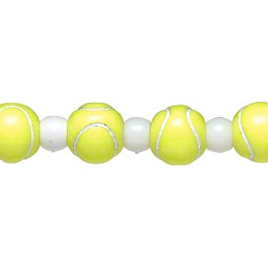 bead, acrylic, yellow and white, 7x5.5mm crow and 11mm tennis ball. sold per 8-inch strand.