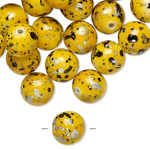 bead, acrylic, yellow with gold/silver/black speckles, 10mm round. sold per pkg of 170.