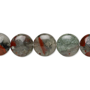 bead, african bloodstone (natural), 12mm puffed flat round, b grade, mohs hardness 6-1/2 to 7. sold per 8-inch strand, approximately 15 beads.