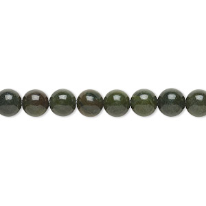 bead, african green jasper (natural), 6mm round, b grade, mohs hardness 6-1/2 to 7. sold per 16-inch strand.