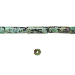 bead, african turquoise (dyed), 13x4mm round tube, c grade, mohs hardness 6-1/2 to 7. sold per 16-inch strand.