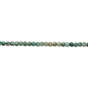 bead, african turquoise (dyed), 2mm round, c grade, mohs hardness 6-1/2 to 7. sold per 16-inch strand.