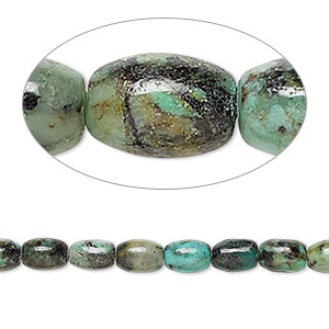 bead, african turquoise (dyed), 6x4mm oval, c grade, mohs hardness 6-1/2 to 7. sold per 16-inch strand.
