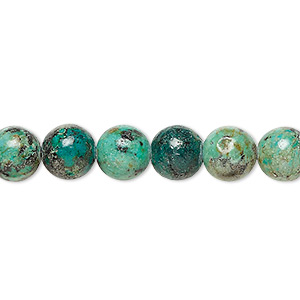 bead, african turquoise (dyed), 8mm round, c grade, mohs hardness 6-1/2 to 7. sold per 16-inch strand.