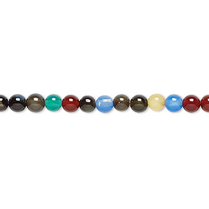 bead, agate (natural / dyed / heated), multicolored, 4mm round, b grade, mohs hardness 6-1/2 to 7. sold per 16-inch strand.