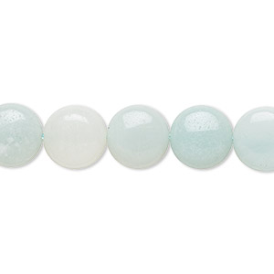 bead, amazonite (natural), light and dark, 10mm flat round, b grade, mohs hardness 6 to 6-1/2. sold per 16-inch strand.