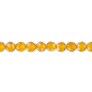 bead, amber and resin (assembled), 5mm faceted round, mohs hardness 2 to 2-1/2. sold per 16-inch strand.