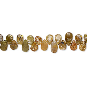 bead, amber green tourmaline (natural), 5x4mm-7x4mm hand-cut top-drilled puffed teardrop, c- grade, mohs hardness 7 to 7-1/2. sold per 7-inch strand.