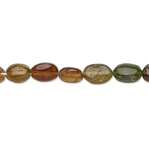 bead, amber-green tourmaline (natural), 7x6mm-9x7mm hand-cut flat oval, c grade, mohs hardness 7 to 7-1/2. sold per 14-inch strand.