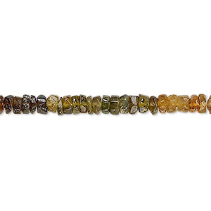 bead, amber green tourmaline (natural), shaded, 4x2mm-5x3mm hand-cut faceted heishi, c grade, mohs hardness 7 to 7-1/2. sold per 12-inch strand.