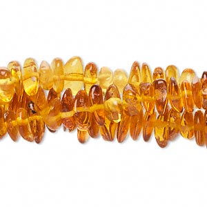 bead, amber (heated), medium chip, b+ grade, mohs hardness 2 to 2-1/2. sold per pkg of (3) 16-inch strands.
