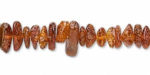 bead, amber (heated), medium chip, d grade, mohs hardness 2 to 2-1/2. sold per 16-inch strand.