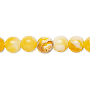 bead, amber (imitation), honey amber, 8mm round. sold per 16-inch strand.
