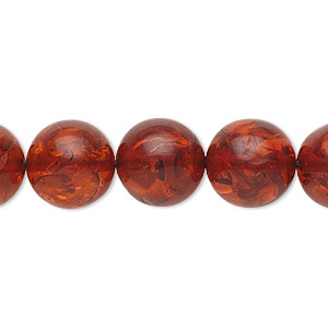 bead, amber (imitation), medium to dark red, 12mm round. sold per 16-inch strand.