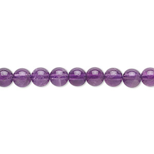bead, amethyst (natural), 5mm round, c grade, mohs hardness 7. sold per 16-inch strand.