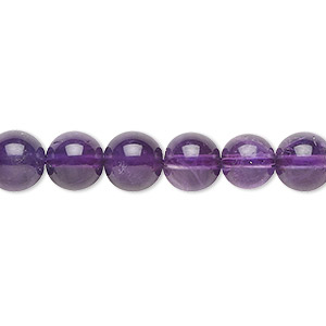 bead, amethyst (natural), 8mm round, a- grade, mohs hardness 7. sold per 16-inch strand.