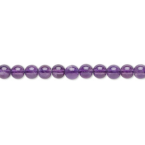 bead, amethyst (natural), light, 4mm round, c grade, mohs hardness 7. sold per 16-inch strand.