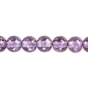 bead, amethyst (natural), light, 8mm hand-cut faceted round with 2mm hole, b+ grade, mohs hardness 7. sold per pkg of 10.